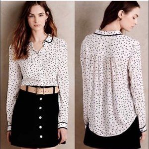 Anthropologie Maeve Polka Dot Button Down Top